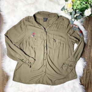 • Torrid Military Green Embroidered Shirt •